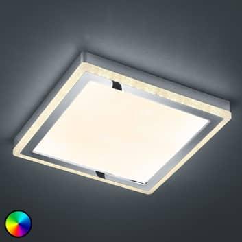 LED-taklampa Slide, vit, kantig