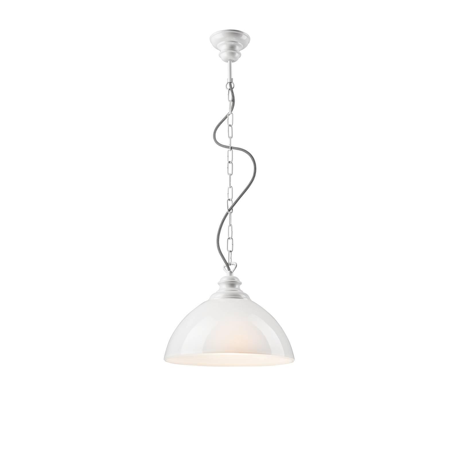 Hängelampe Vagen mit Glasschirm, weiß opal