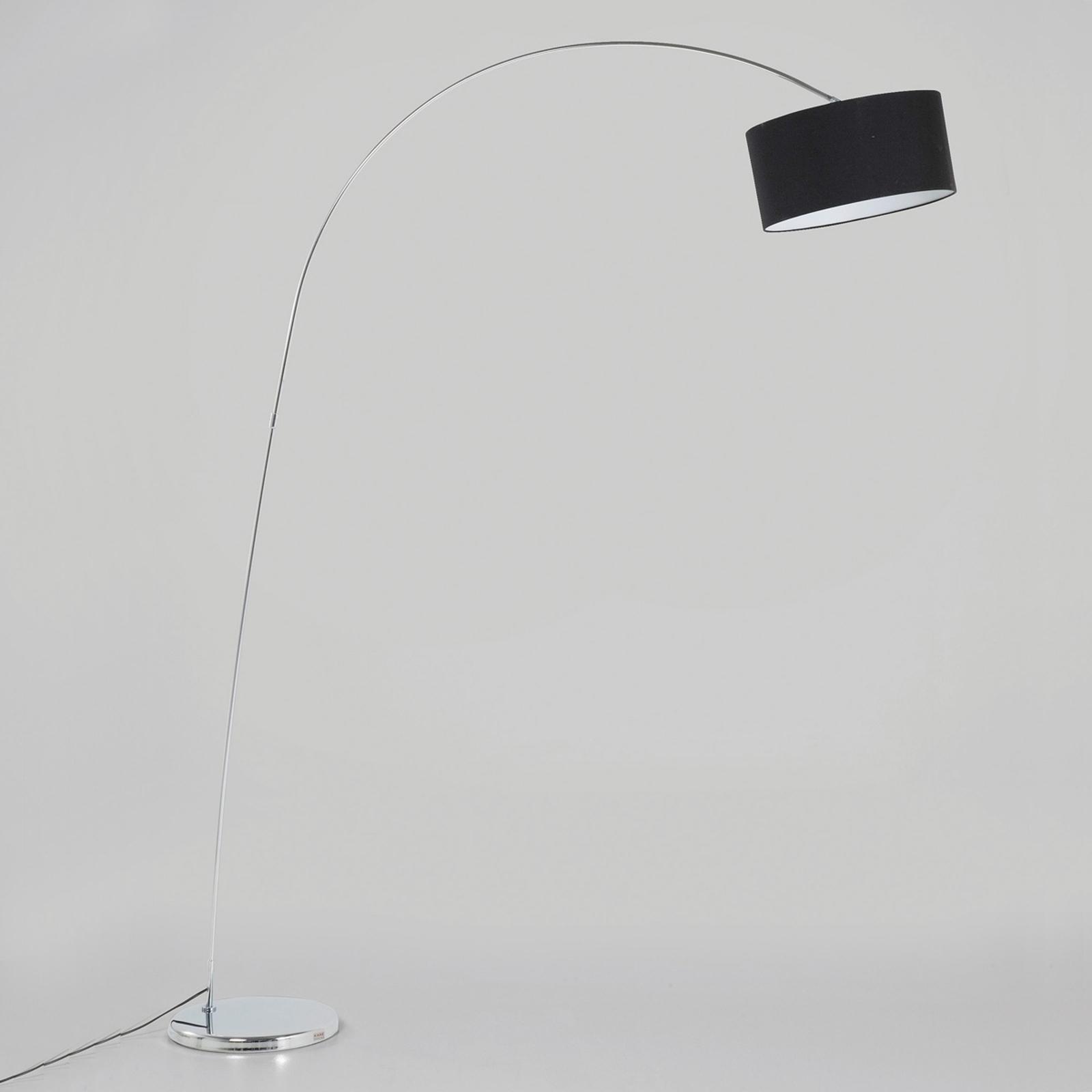 Kare Gooseneck boogvloerlamp met zwart kap