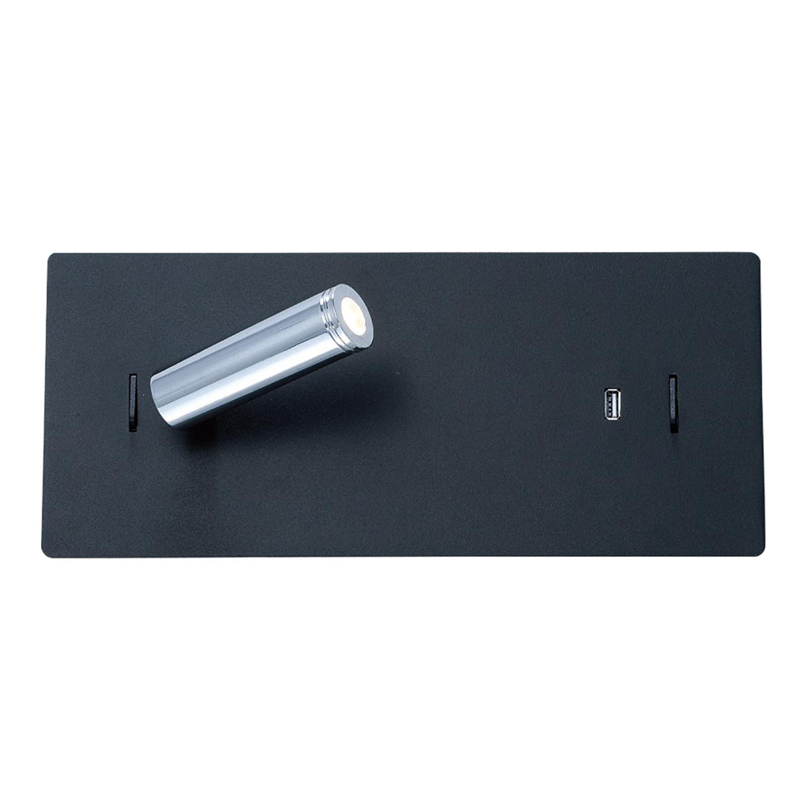 Lucande Kimo LED-vegglampe kantet svart, USB-spor