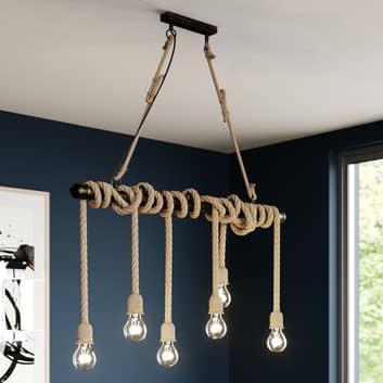 Lindby Hajo hanglamp, 6-lamps, touw