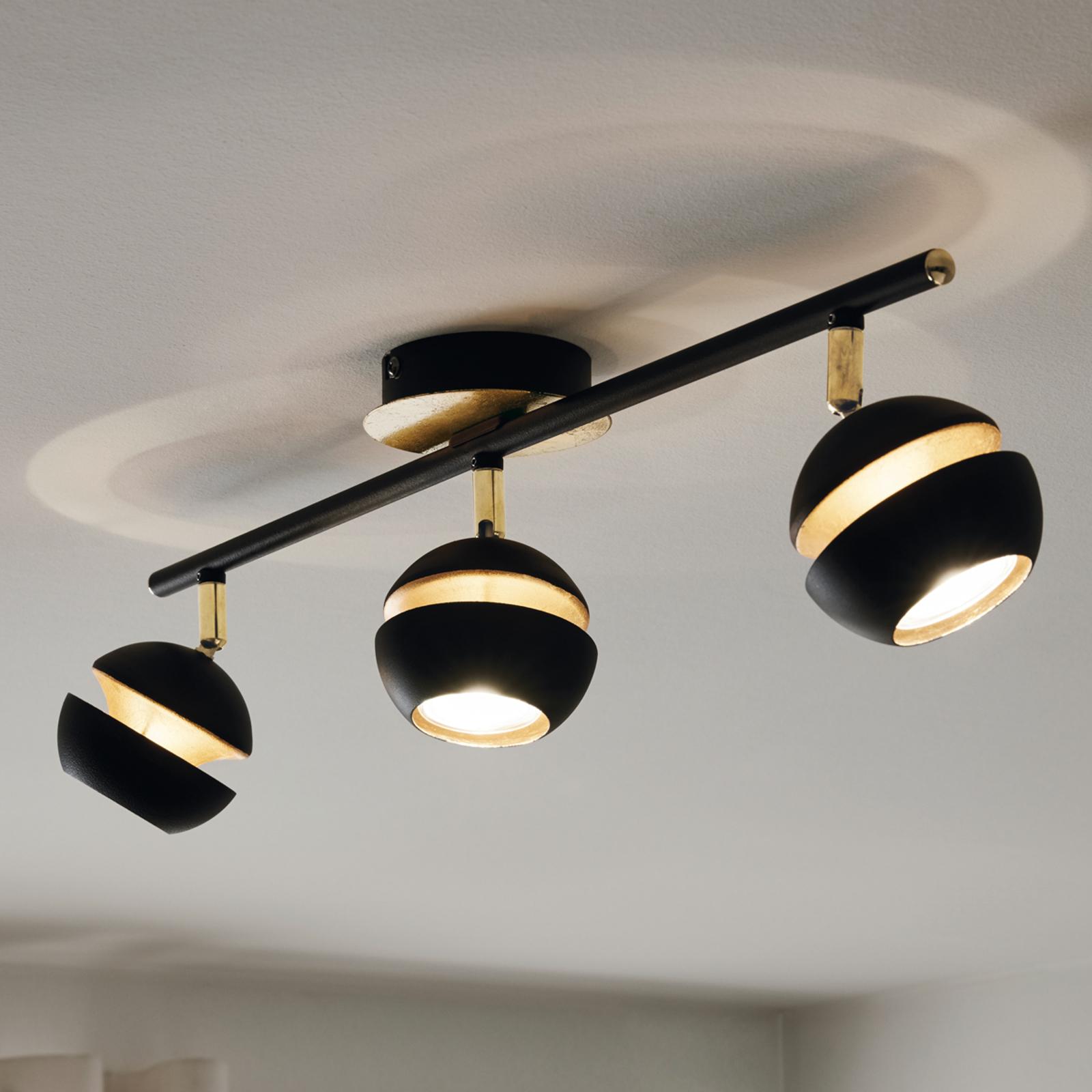 Czarno-złota lampa sufitowa LED Nocito, 3-punktowa