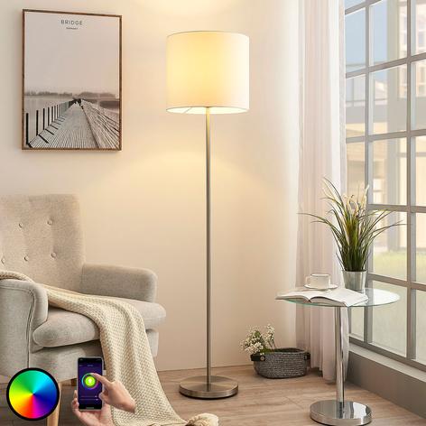 Lampada LED da pavimento Everly in tessuto, RGB