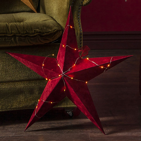 Estrella Velvet, cadena de luces LED Dew Drop rojo