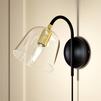 Lucande Anjita væglampe, glasskærm