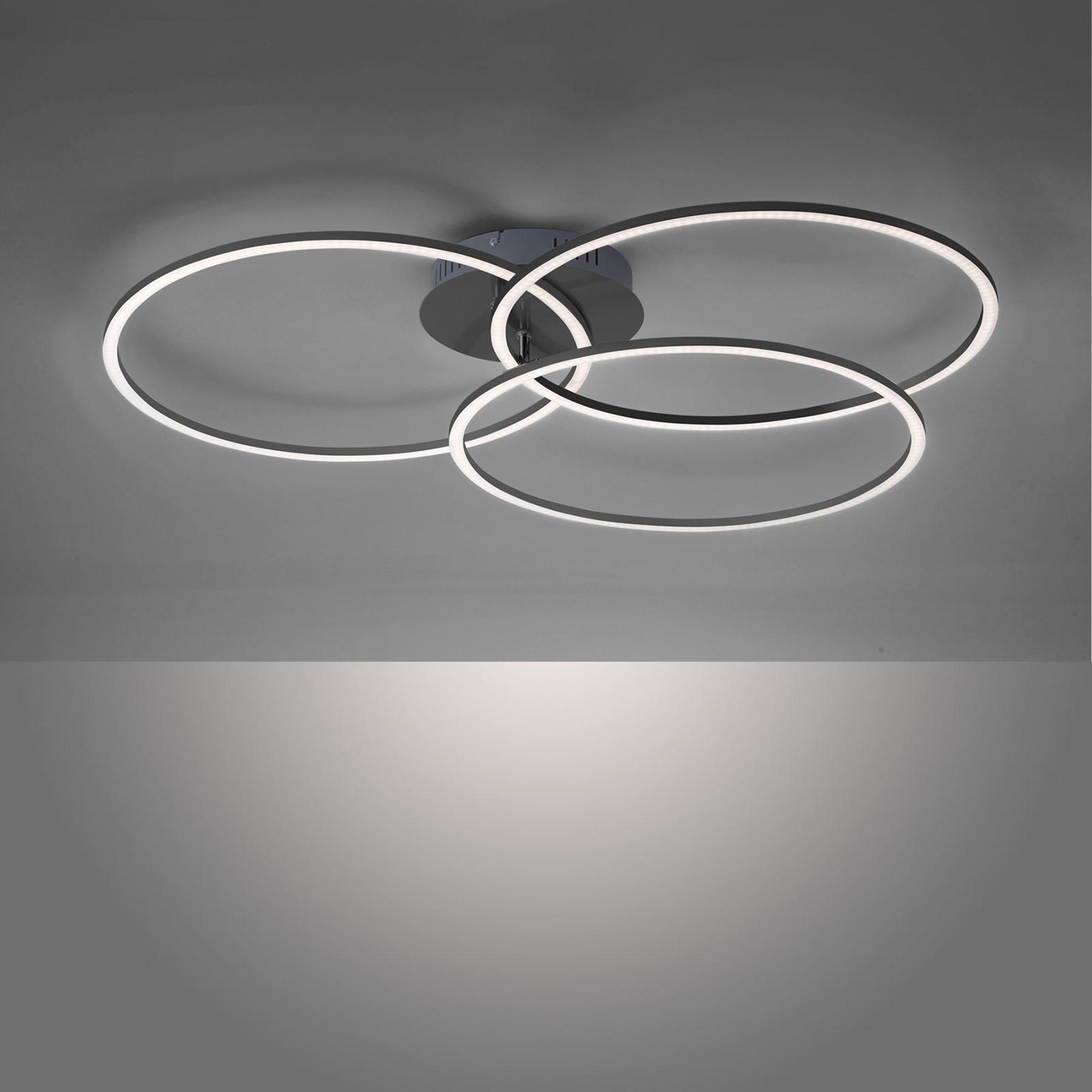LED plafondlamp Ivanka, drie ringen, zwart