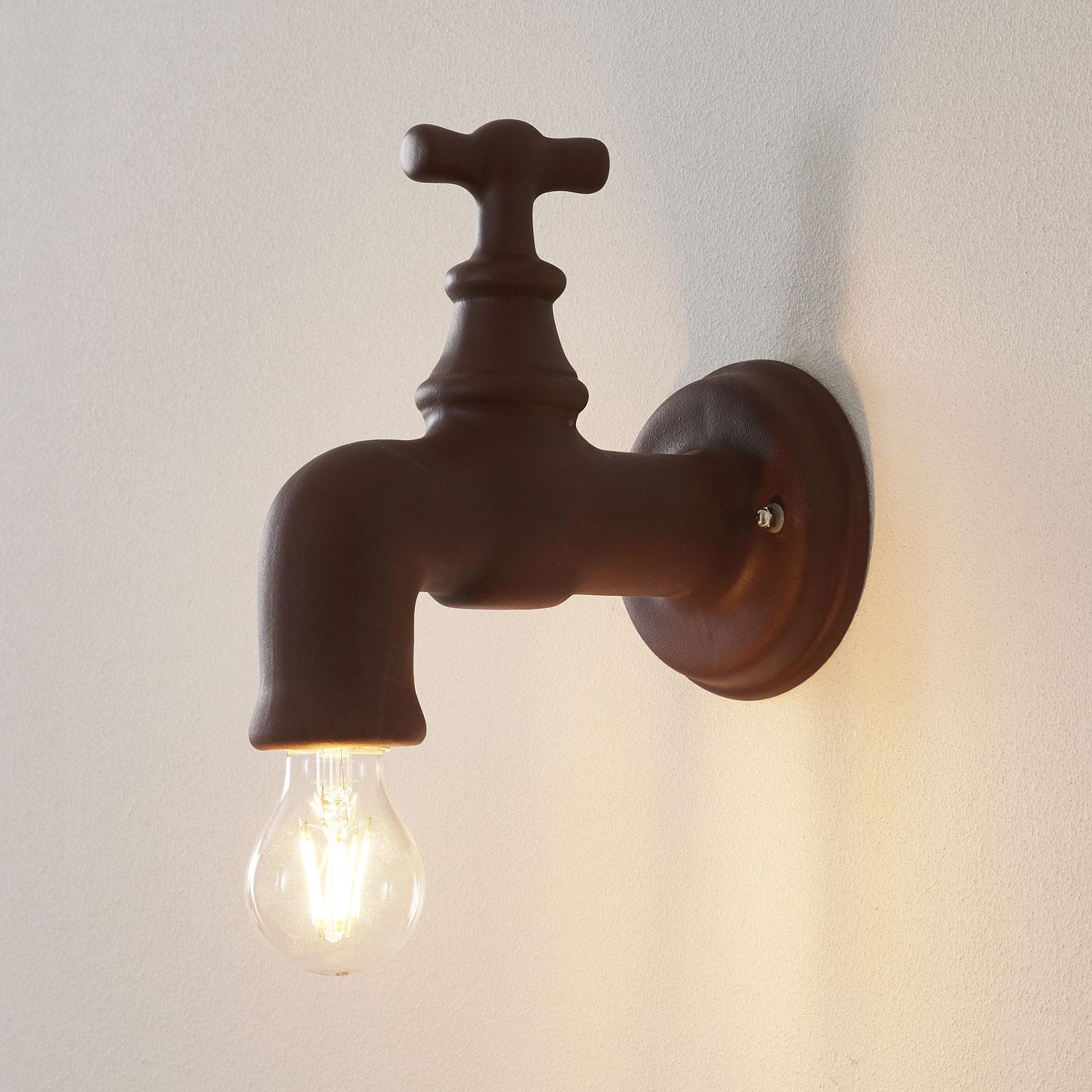 Keramiek-wandlamp A188, bruin mat