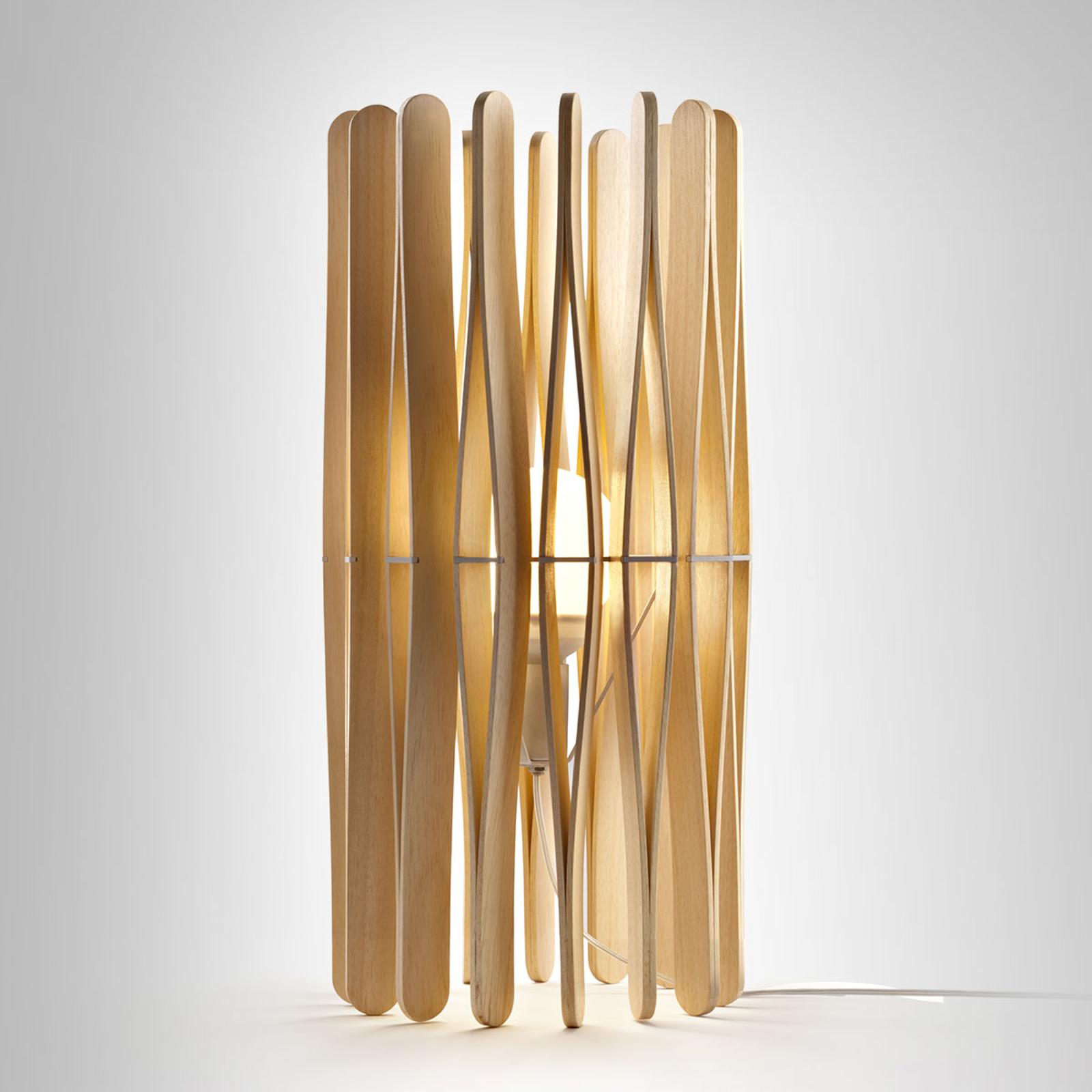 Fabbian Stick drevená stolná lampa, valcovitá