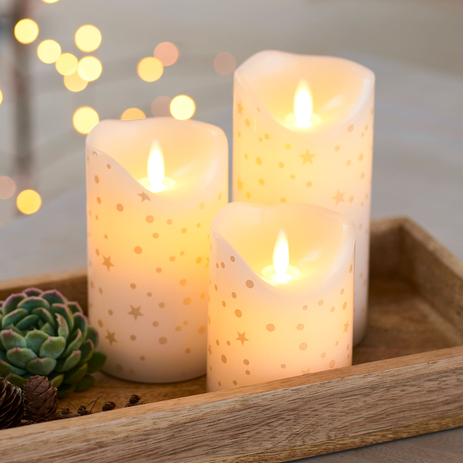 Set 3 candele LED Sara romantic bianco/oro 10-15cm