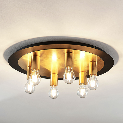 Metalowa lampa sufitowa Justik, 6-punktowa, czarna