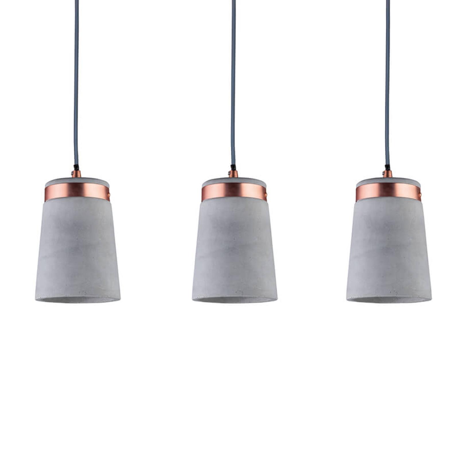 3-lamps hanglamp Stig met betonnen kappen