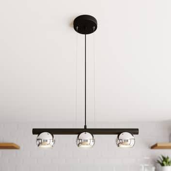 Hippo hængelampe, 3 lyskilder, sort og krom