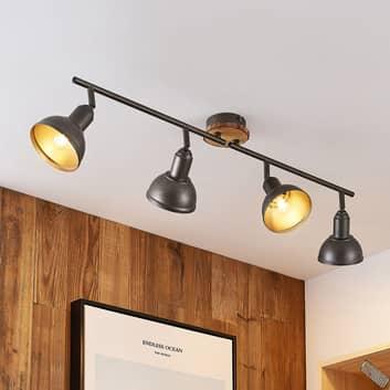 Lindby Nesrin Deckenlampe mit Holzscheibe, 4-fl.