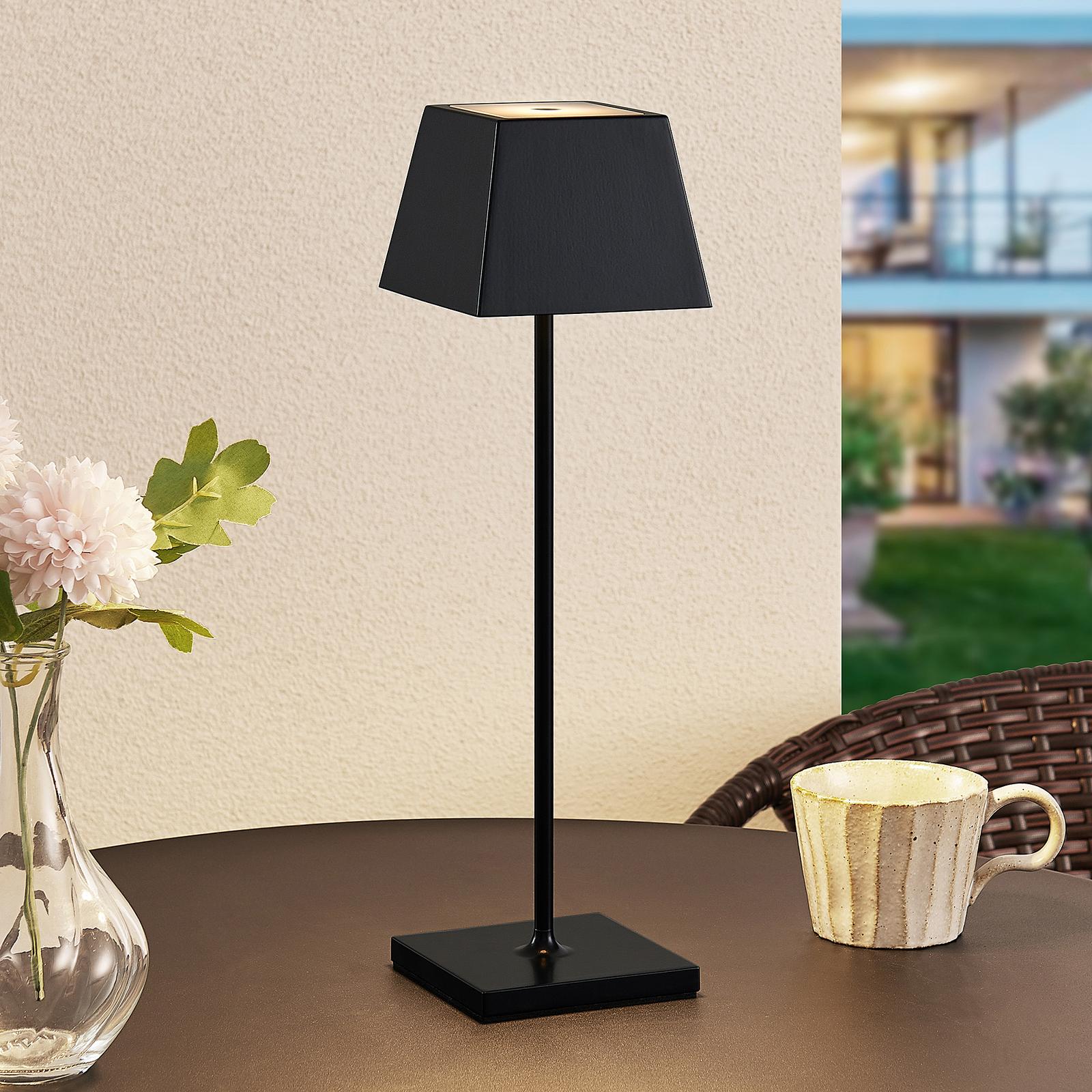 Lucande Patini LED venkovní stolní lampa, černá