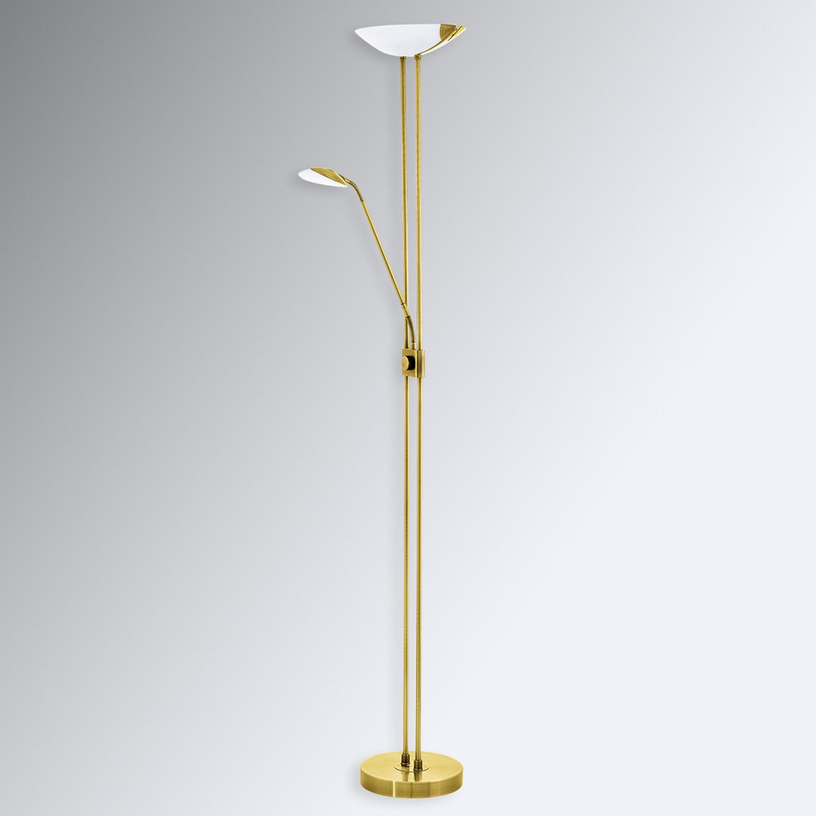 Lampa stojąca LED Baya, stylistyka mosiądzu