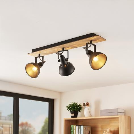 Lindby Aylis lámpara de techo negra madera 3 luces