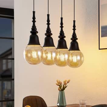 Lucande Gesja-riippuvalo 4-lamppuinen, pitkä musta