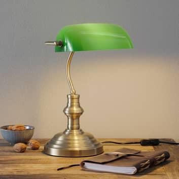 Klassisk bordslampa Bankers 42cm, grön