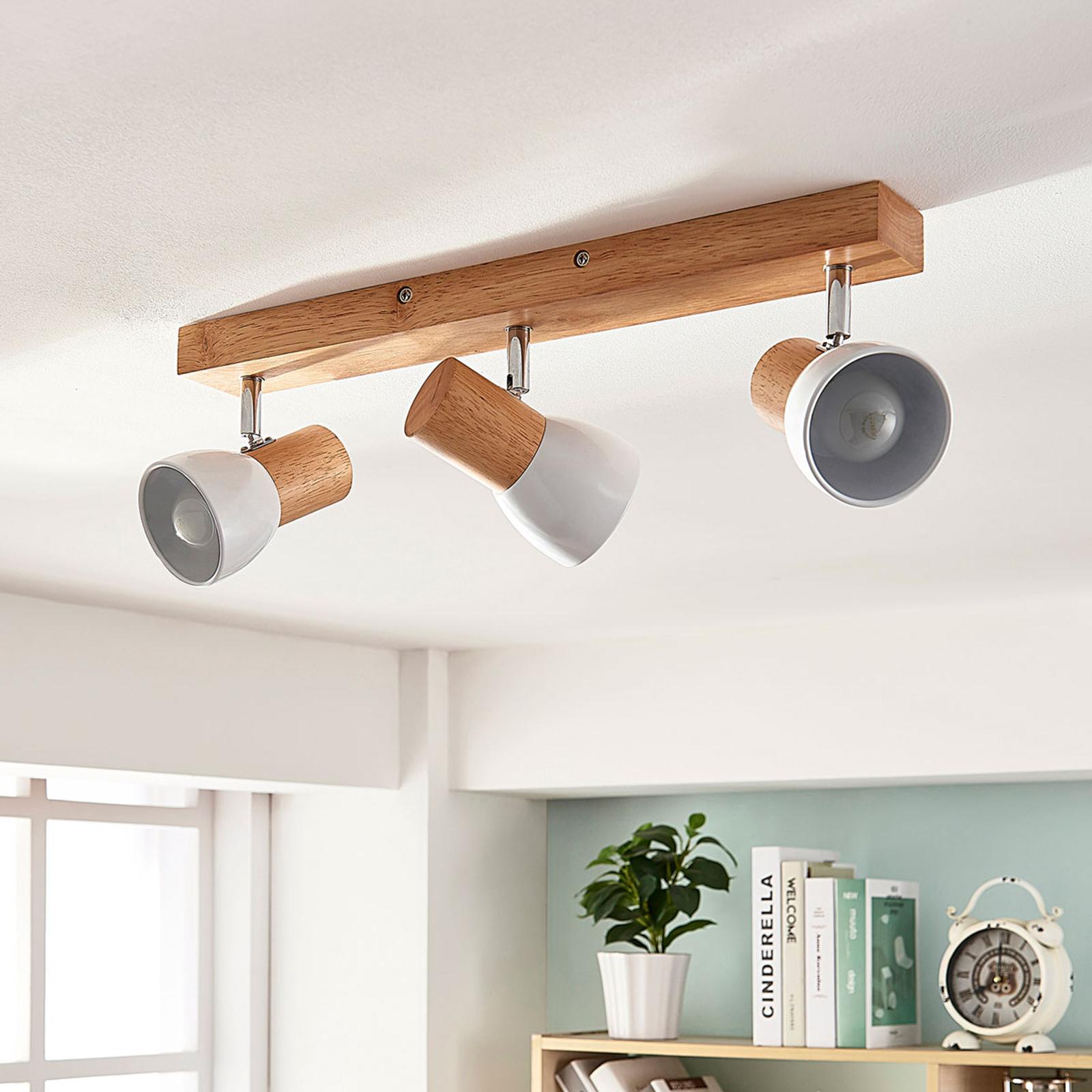Lámpara de techo Thorin con madera, 3 bombillas