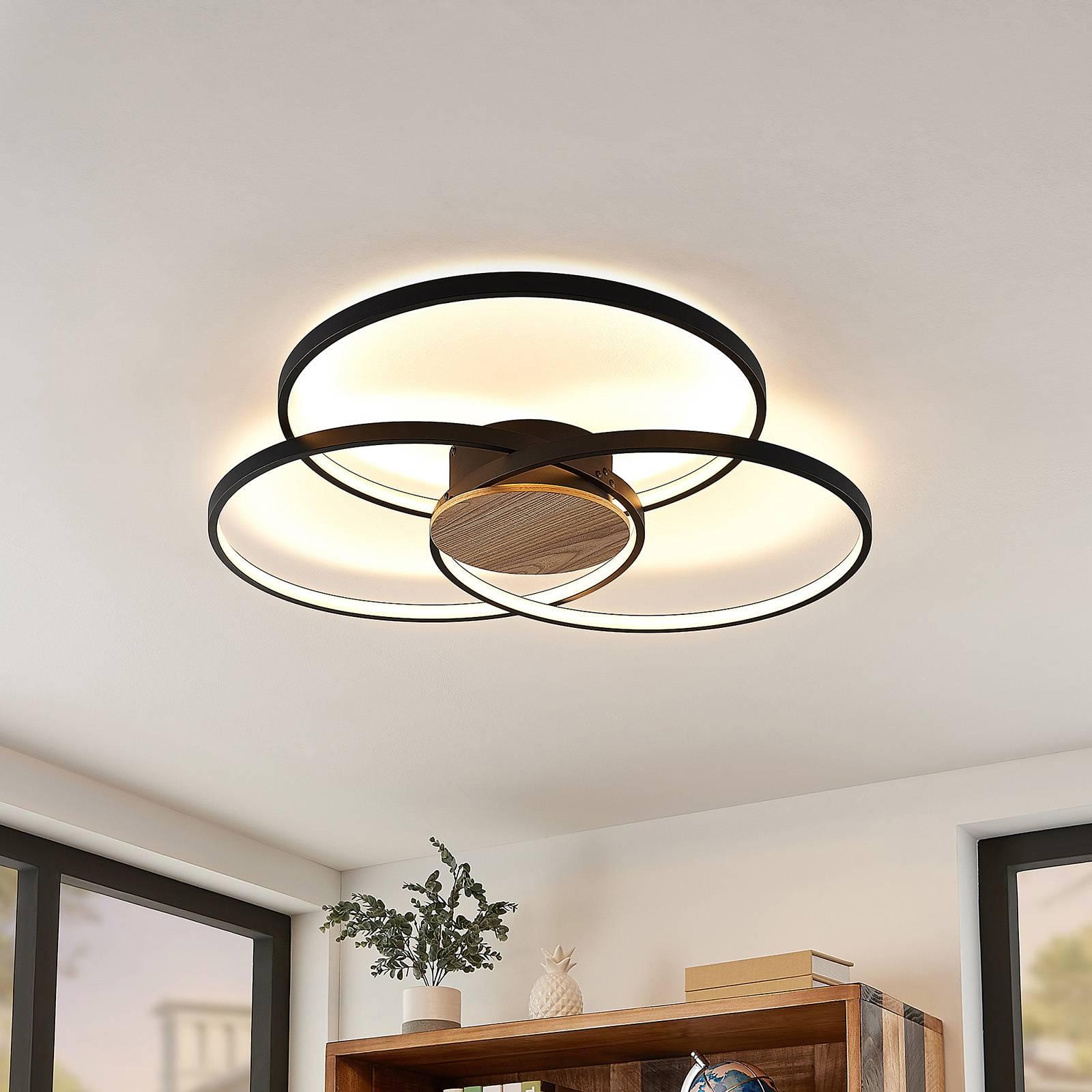 Lindby Riley LED plafondlamp, dimbaar, zwart