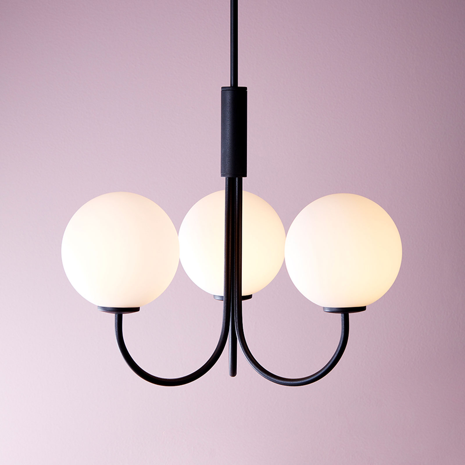 Lysekrone Ballon med bryter, 3 lyskilder, svart