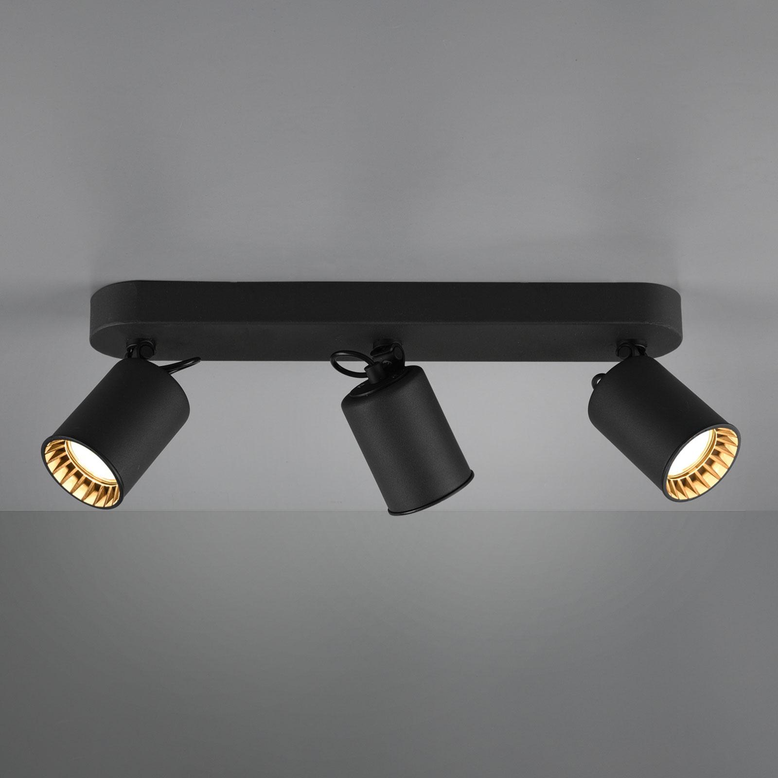 Stropní světlo Pago, tři žárovky, černé