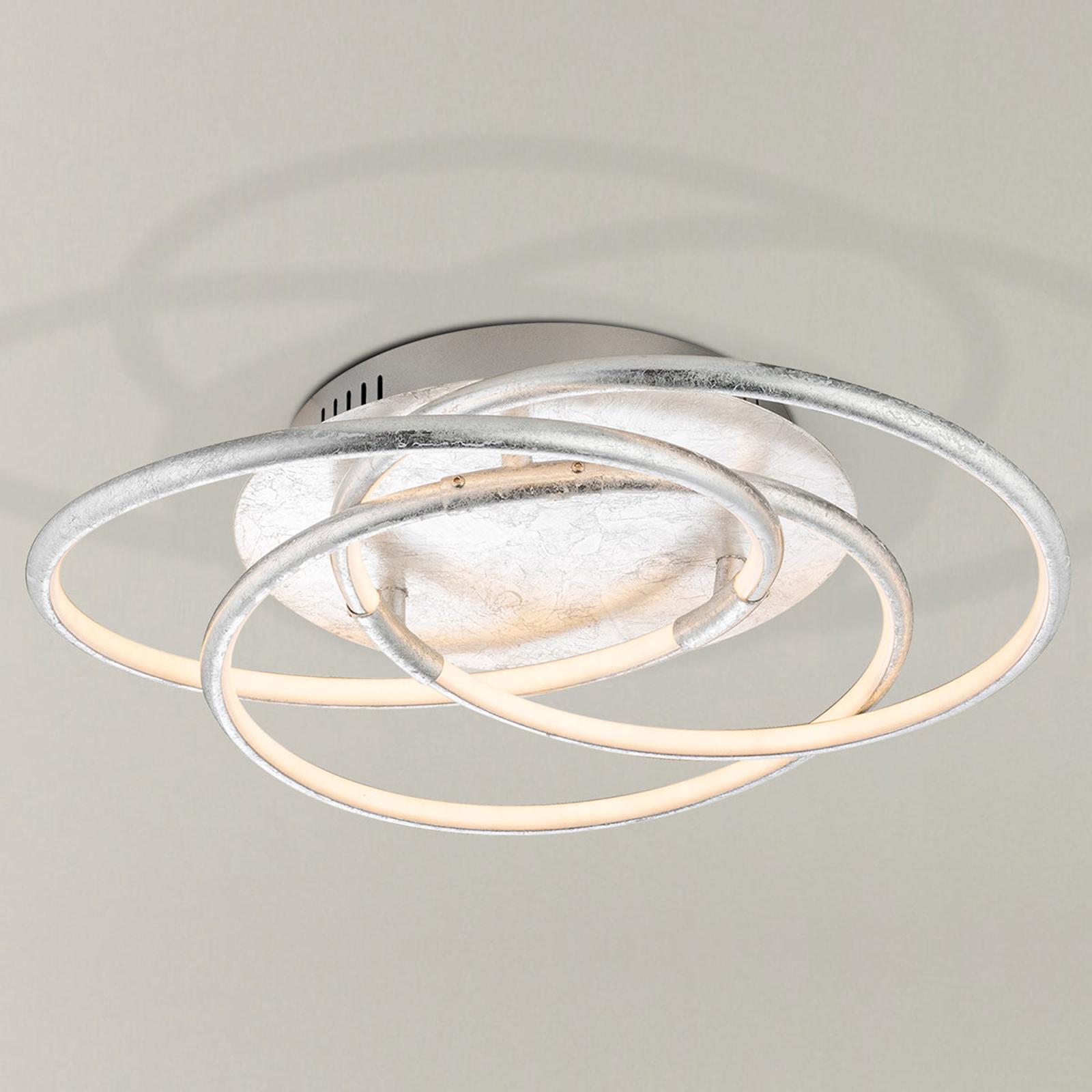 Silberfarben gestaltete LED-Deckenlampe Barna