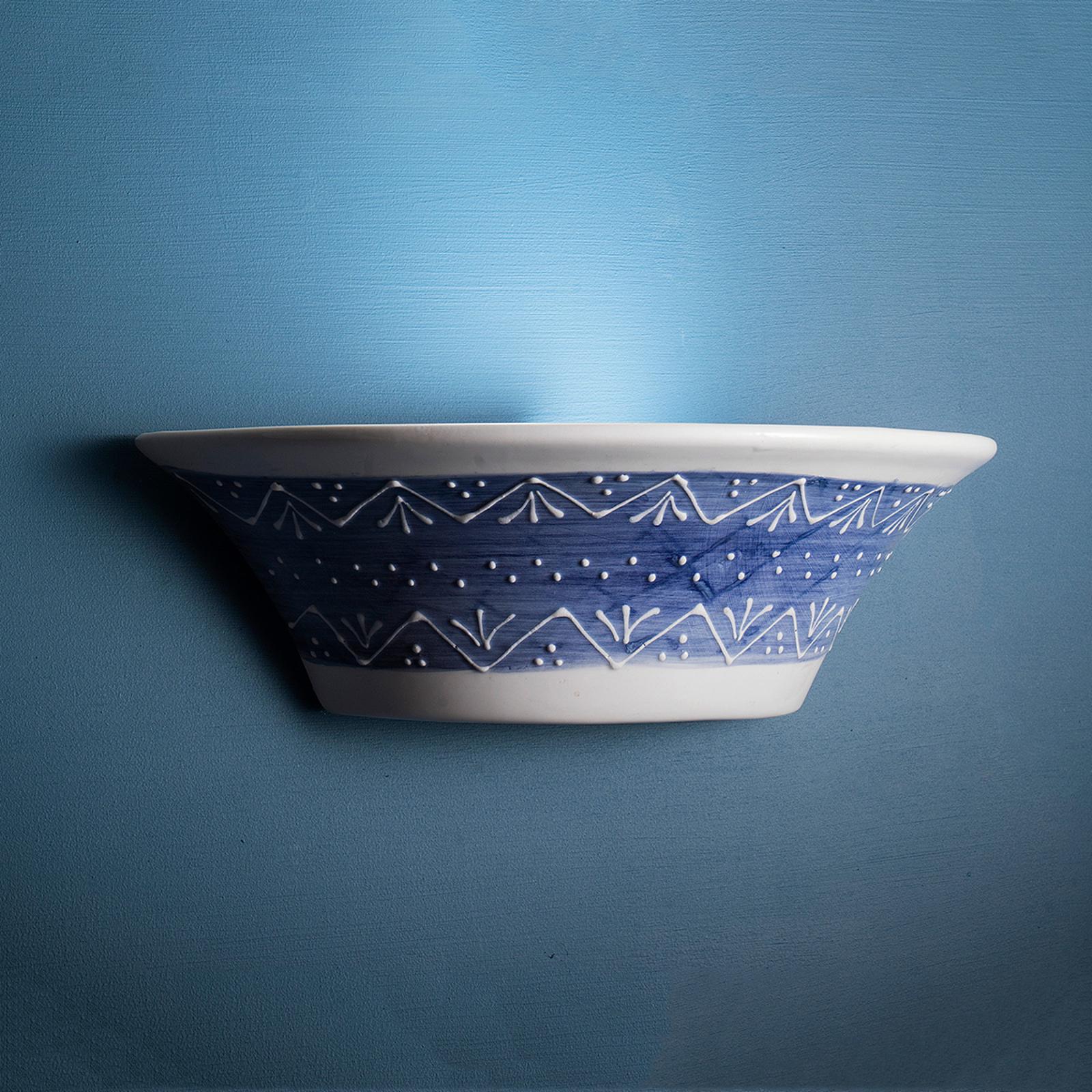 Blauw-witte keramiek-wandlamp Nelli