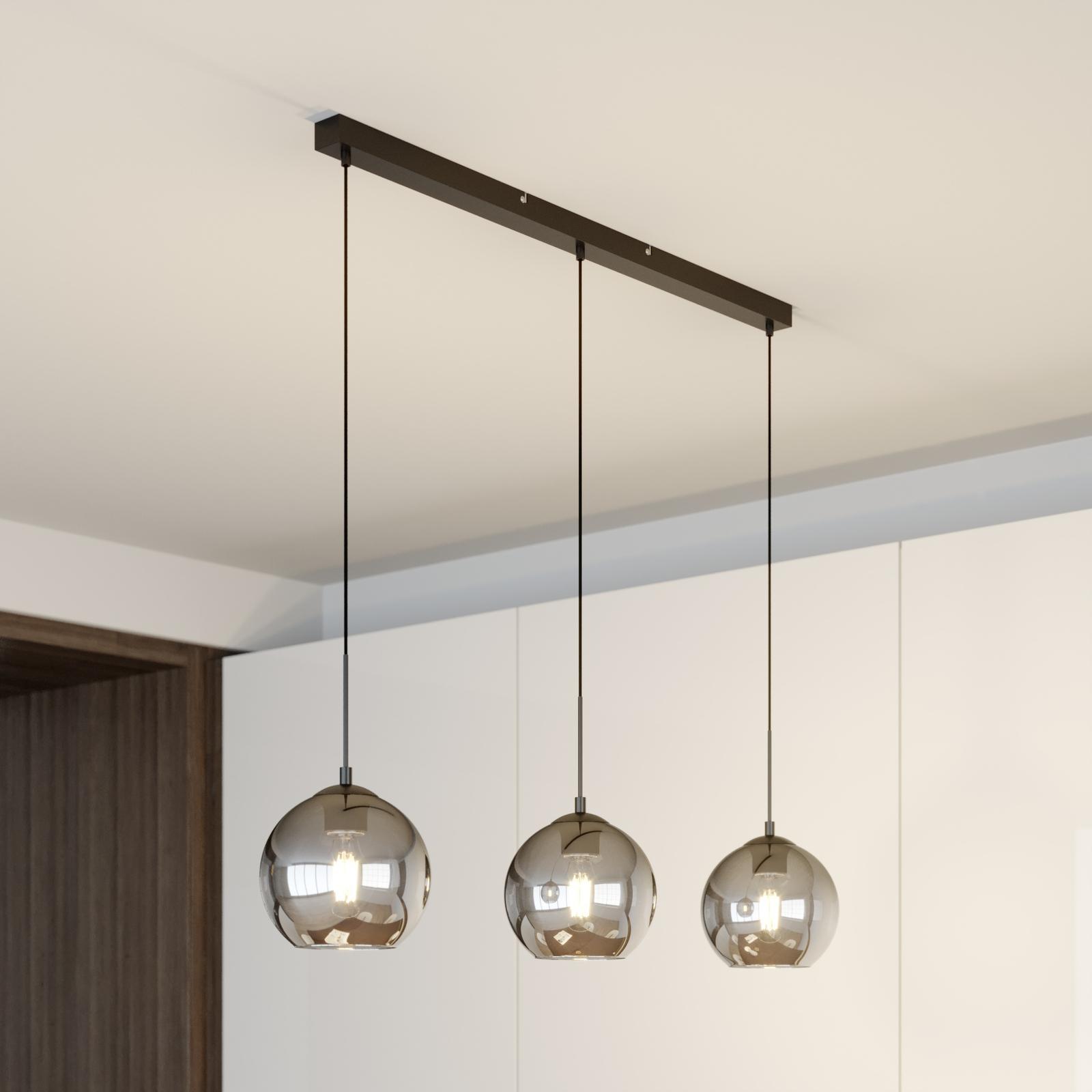 Lindby Sofian suspension à 3 lampes, gris fumée