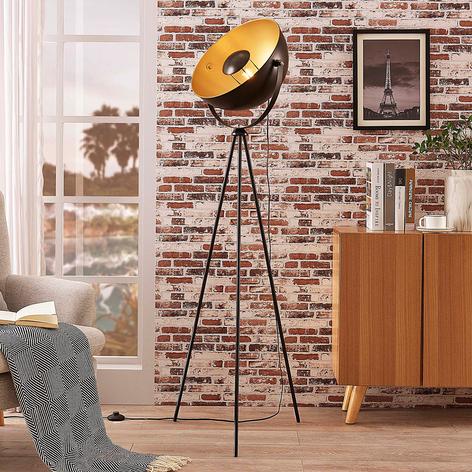 Černozlatá stojací lampa se stojanem tripod Meline