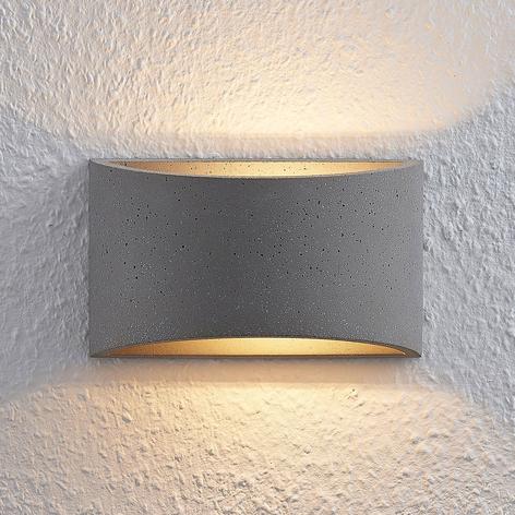 Lindby Edvin LED-Wandleuchte aus Beton, halbrund