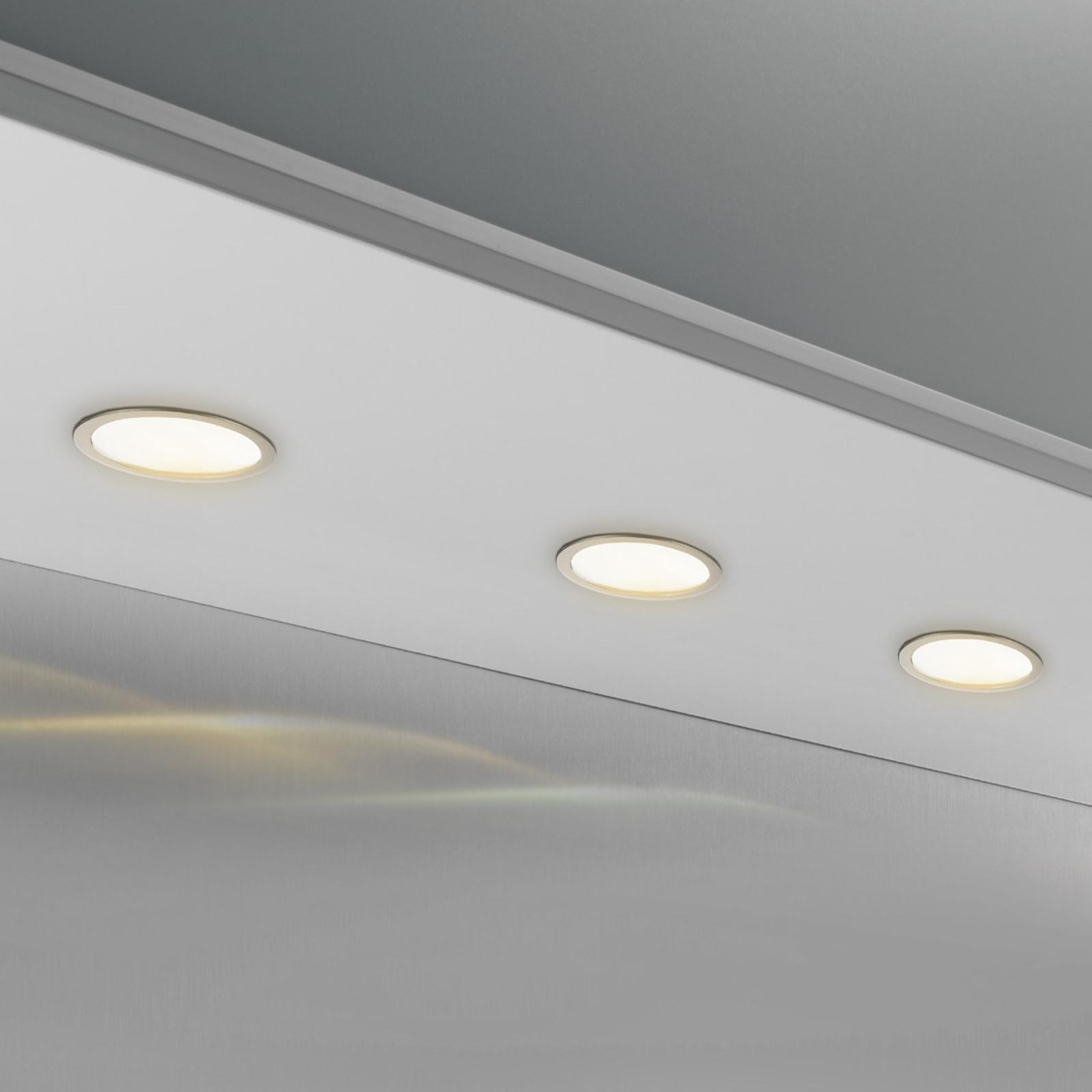 Rund CUBIC 68 innfelt lampe 3.500 k i nikkel
