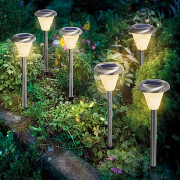 Lámpara LED solar con pica Imola, set 6 unidades
