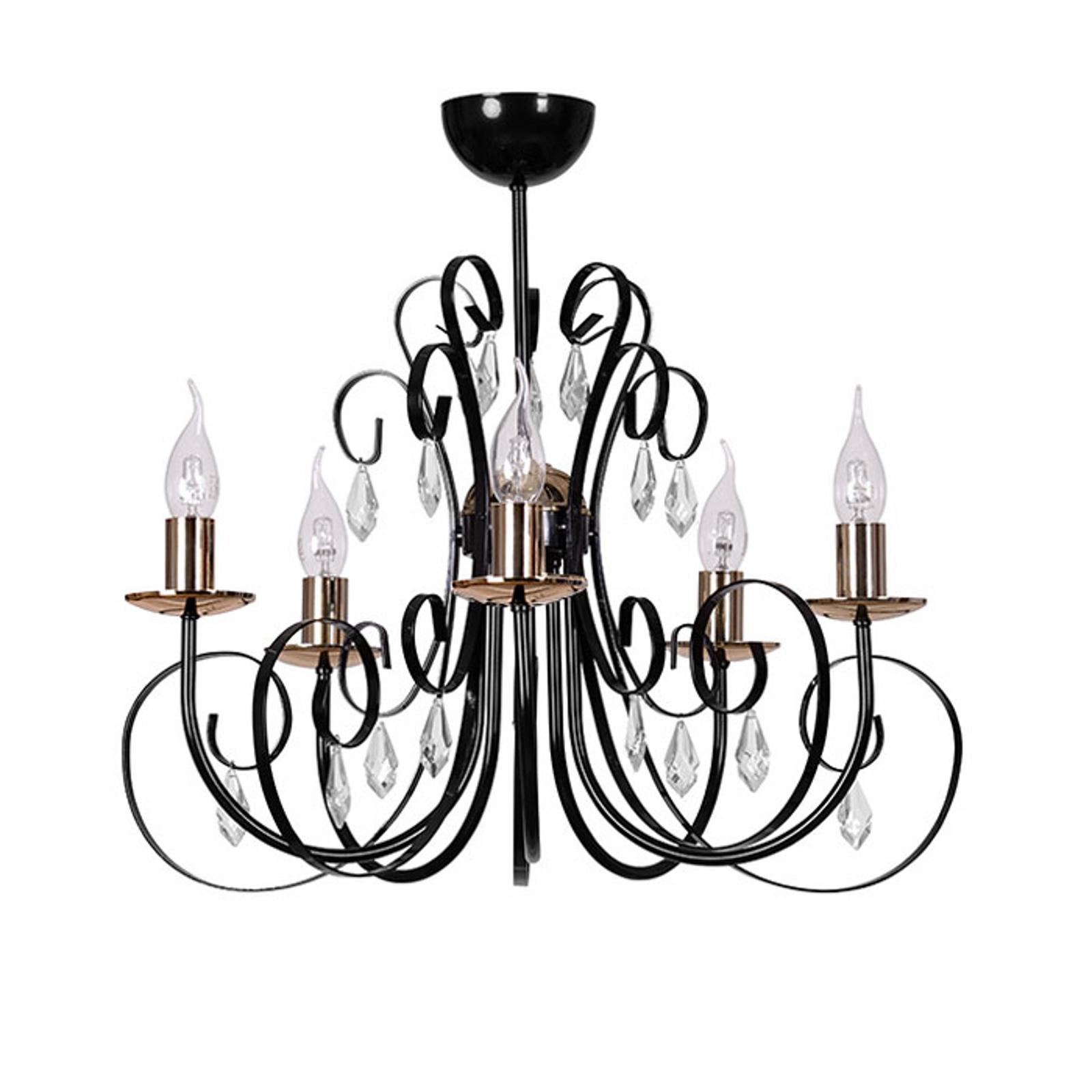 Lustre Foreman 5 à 5 lampes, noir-cuivré