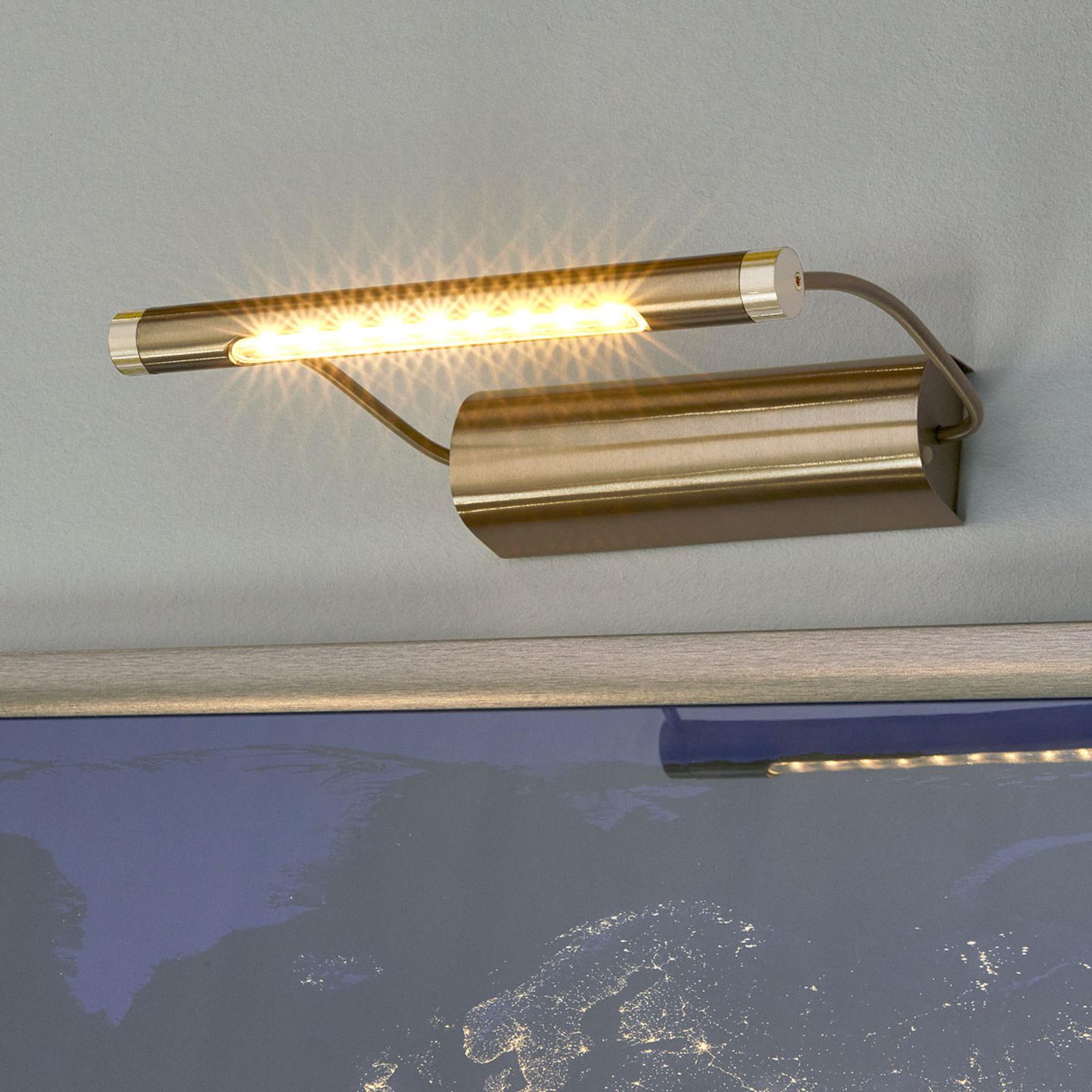 Batteridrevet Tommy LED-gallerilampe, messing