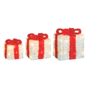 LED-Geschenkbox Lumineo Objects 3er weiß/rot
