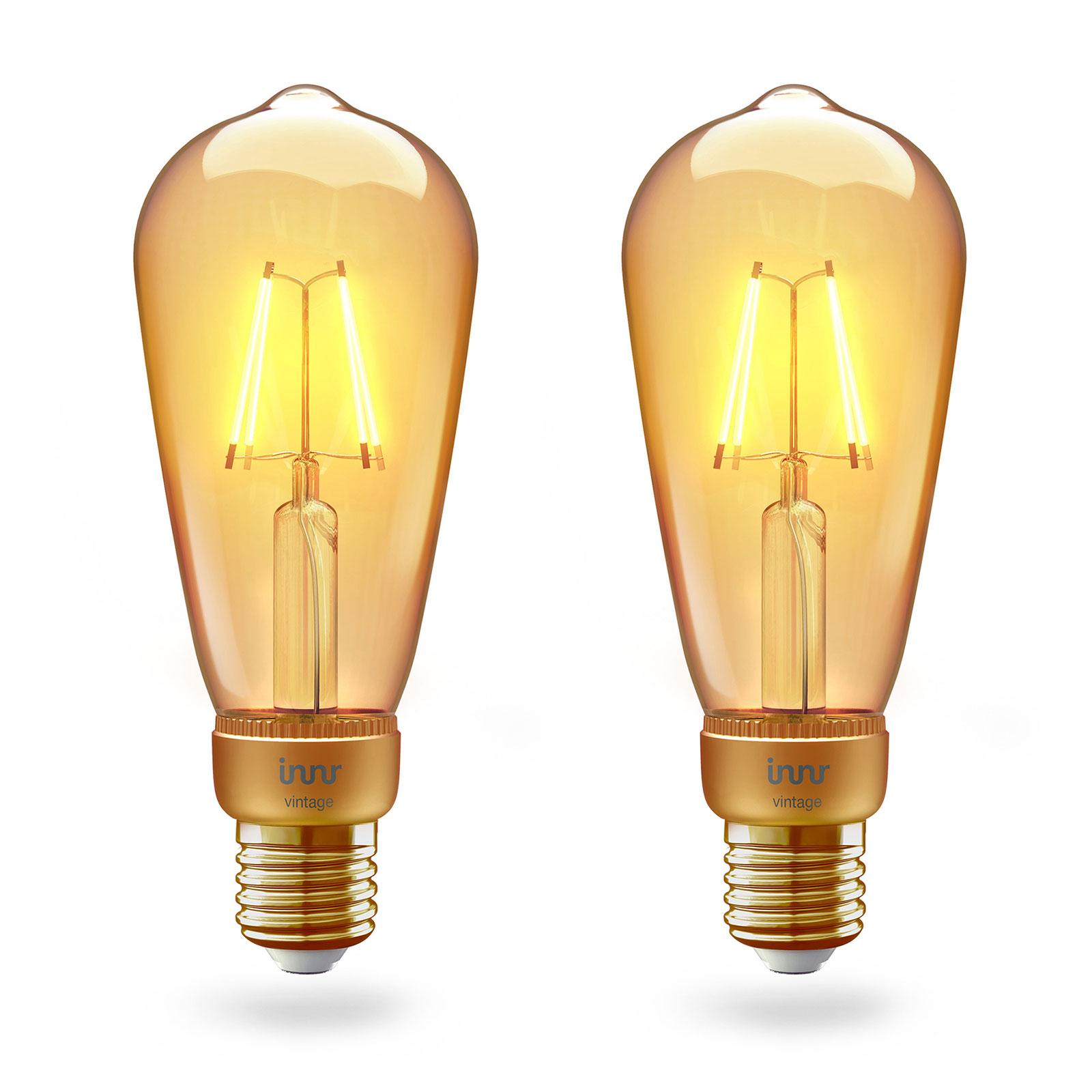 Innr LED-pære E27 filament Edison 2200K 4,2W 2er
