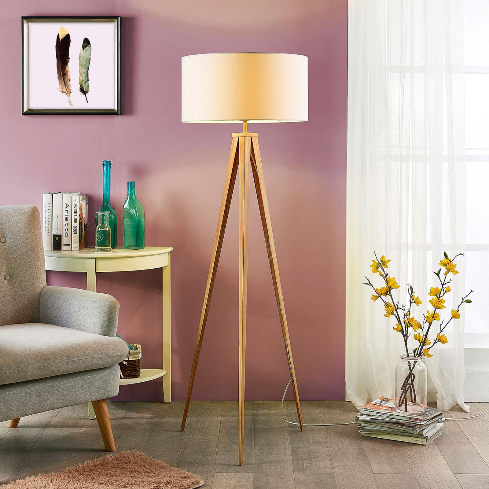 Stojací lampa Benik, vzhle stativu, bílá-dřevěná