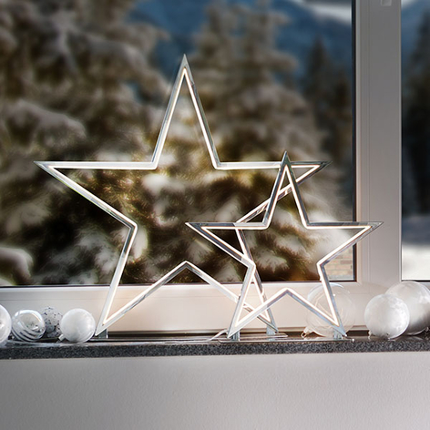 Chromowana lampa dekoracyjna Lucy gwiazda 33 cm