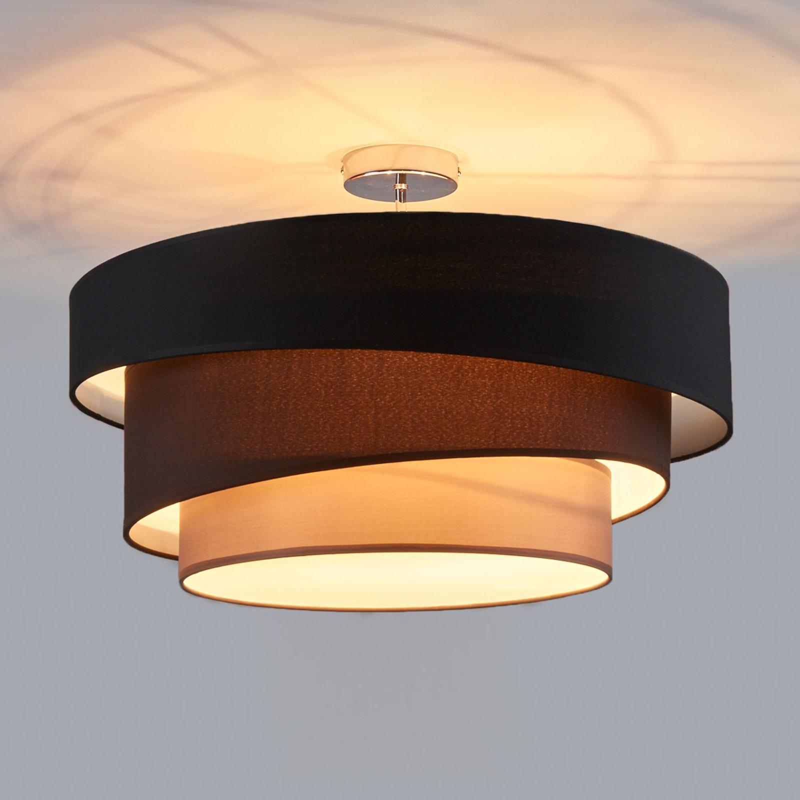 Tilltalande taklampa Melia, svart och brun