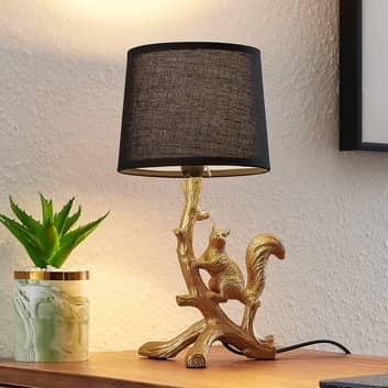 Lindby Squira stoffen tafellamp, zwart-goud