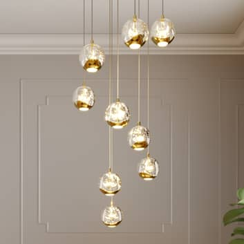 Lucande Hayley suspension LED, à 9 lampes, dorée