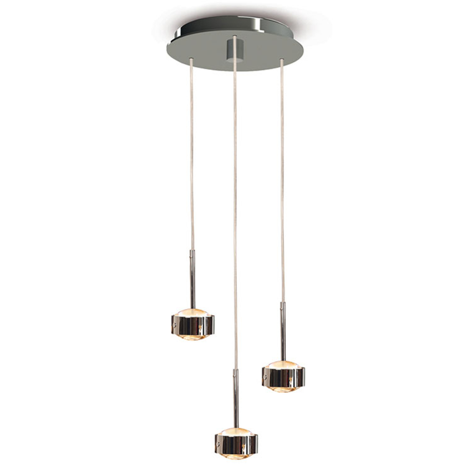 LED hanglamp Puk Drop Trio, chroom