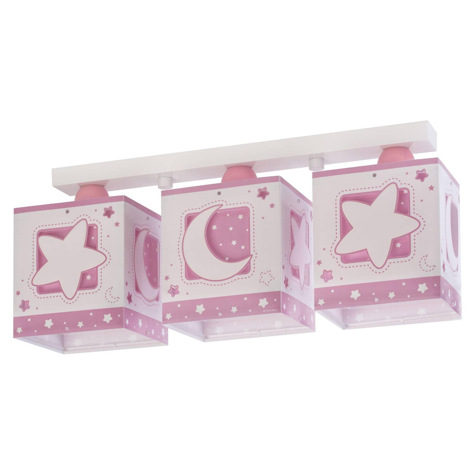 Taklampa för barnrum Moonlight, 3 lampor, rosa