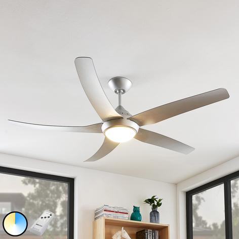 Arcchio Dora LED-Deckenventilator, 5 Flügel silber