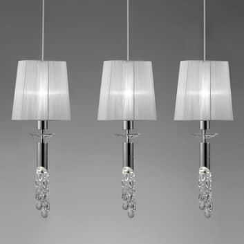 Iögonfallande taklampa Lilja m kristall, 3 lampor