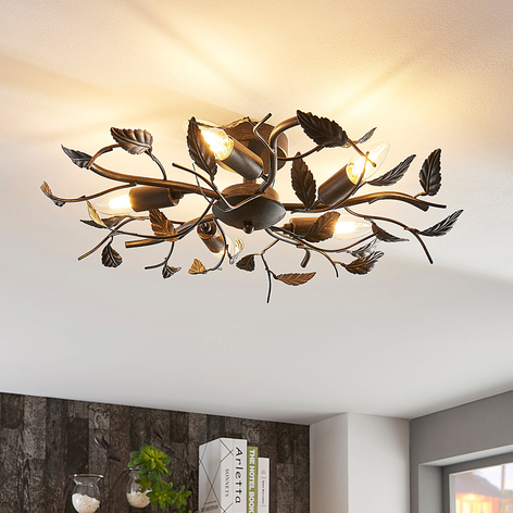 Decorativa lámpara de techo Yos, diseño de hojas