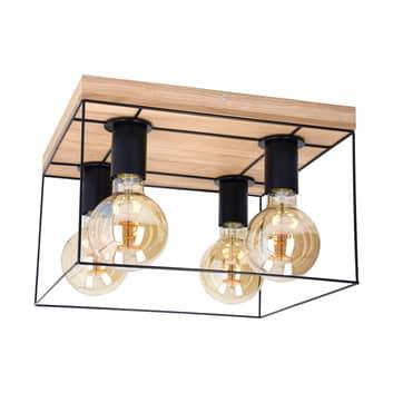 Envolight Gretter plafón, metal/roble, 4 luces