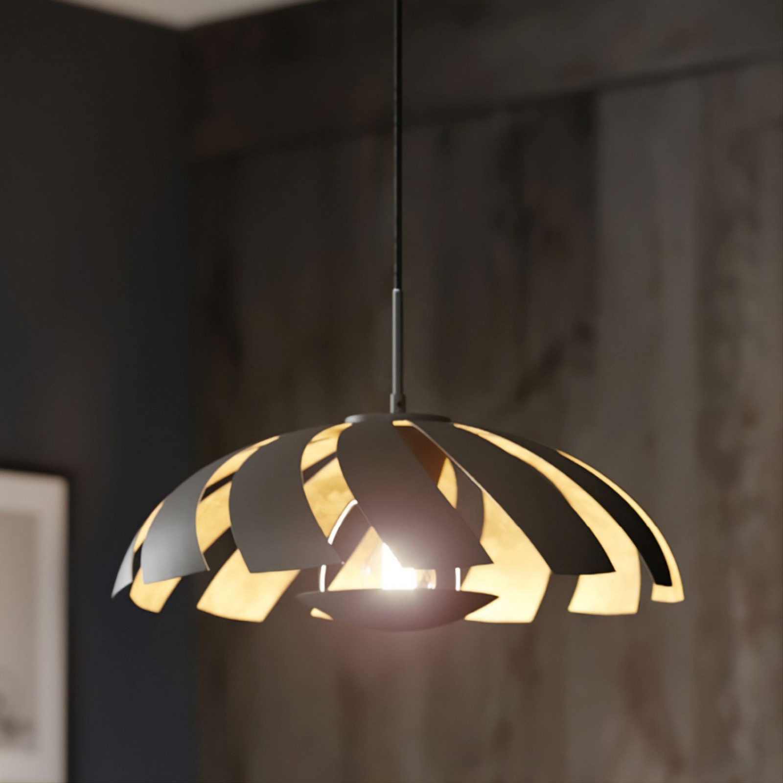 Lucande Archilleas lampa wisząca, czarno-złota