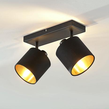 Lampa sufitowa Vasilia, czarno-złota, 2-punktowa